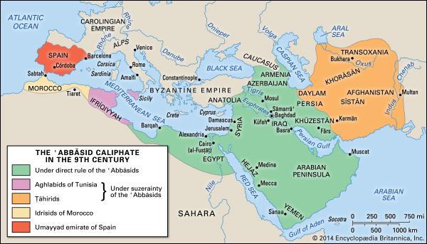 Hình 2: Vương quốc Hồi giáo thế ký thứ 9